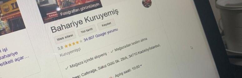 Bahariye Kuruyemiş ve 34607 Google işletme yorumu
